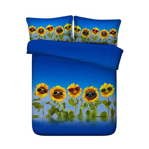 Ruixinshi 3pcs Bettbezug-Sets, HD Digital 3D Polyster Reactive Print Bettwäsche Set,Sonnenbrille Sonnenblume, Königin Weihnachten Neujahr Bedline