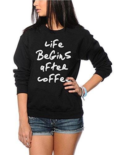 Addict-jugend-t-shirt (Life Begins After Coffee - Coffee lover Geschenk - Life Begins After Coffee - Coffee lover Geschenk Jugend & Damen Sweatshirt - coffee lover Geschenk caffeine addict - Alter 7/8 Schwarz)