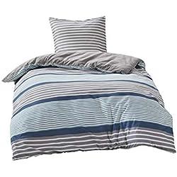 SCM Bettwäsche 135x200cm Blau Braun Streifen Mikrofaser 2-teilig Bettbezug & Kissenbezug 80x80cm Geometrisch Ideal für Schlafzimmer Paul