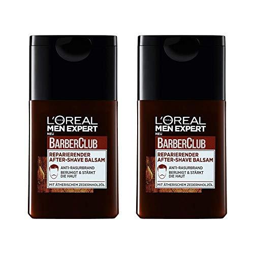 L'Oréal Men Expert Barber Club reparierender After-Shave Balsam, Beruhigt und belebt nach Rasur Beugt Rötungen, Hautirritationen und Pickeln vor (2 x 125 ml) - Parfum Balsam
