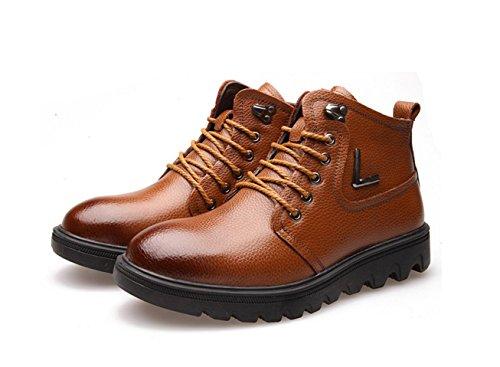 WZG Les bottes en cuir d'hiver d'homme nouveau chaudes