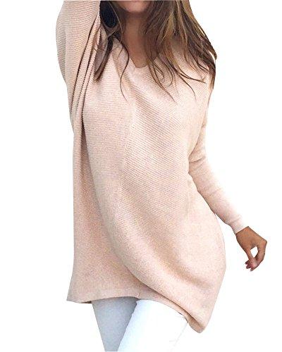 Damen Lange Ärmel Unterhemd Stretch Sweater Pullover Strick Langshirt Bluse Top Casual Pink S
