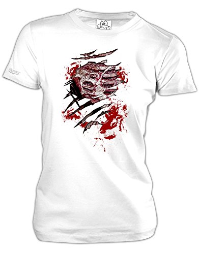 Jayess BLUTIGER OFFENER BRUSTKORB - Halloween - Weiss - Women T-Shirt by Gr. L