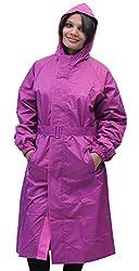Romano WoMen Blended Raincoat (Romllightpurplewndrovercoat_L _Purple _Large)