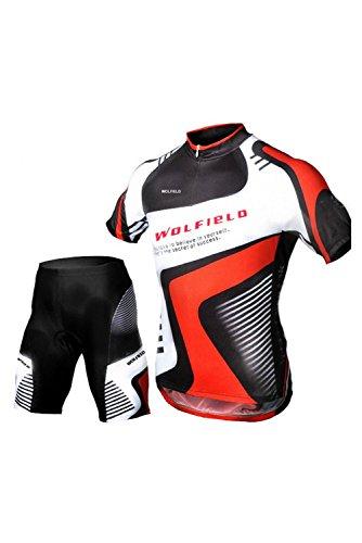 WOLFBIKE Set Sommer Herren Radtrikot fuer Radfahren Mountainbike Fahrrad Bekleidung kurzaermelig Anzug und Fahrrad Shorts 3XL