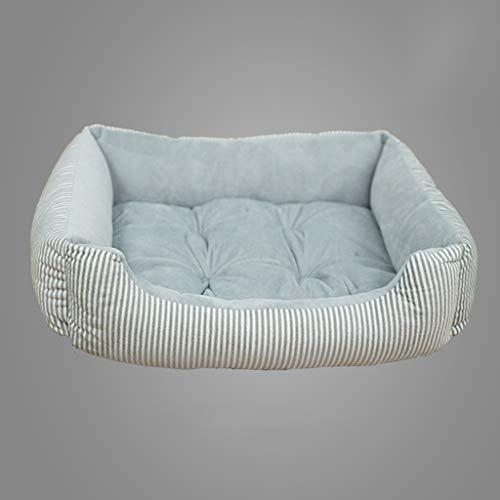 XU FENG Orthopädisches Rechteck-Stützkissen-Haustierbett, Hundebett, super weicher Plüsch für kleine und mittlere Hunde, gestreifte warme Hundehütte (Farbe : Gray and White Stripes)