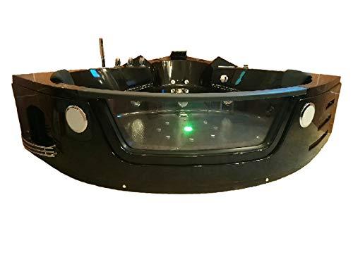 Baignoire balneo Ouest-balnéo baignoire angle 152x152x62cm (1 spot LED 7 couleurs, 22 jets massant, noire, grande taille, prête à l'emploi) spa jacuzzi grande baignoire à bulle certificat TUV allemand