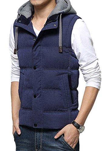 DD UP Herren Herbst Winter Hooded Cotton Reißverschluss Ohne Arm Coat Down Vest Jacken Mäntel Westen vest Blue