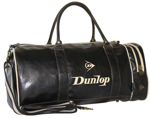 Vintage Dunlop Retro Gym Holdall Sports Weekend Barrel Shoulder Bag Black