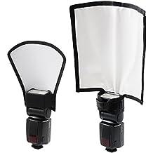 Kit Diffusore Riflettore Flash, diffusore posizionabile e pieghevole + riflettore argento/bianco, diffusore flash per fotocamere Nikon Canon Sony