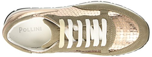 Pollini 7049, Sneaker A Collo Basso Donna Multicolore (Mud Cow Suede-Quartz Woven Pu-Quartz Lamè Drummed Pu)