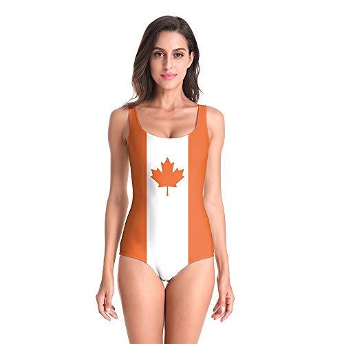Damen Einteiliger Badeanzug Schwimmanzug Kanada Ahorn 3D Gedruckt Reißverschluss Zurück Slim Fit SPA Sonnencreme Casual Schmeichelhaft Strand Komfortable Badeanzug Neoprenanzug, S/M