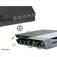 PS4 Ventilador de Refrigeración & Hub USB 3.0 5-Puertos - ElecGear Ventiladores de Control De La Temperatura, USB Extension Adaptador con 5 Luces del indicador LED para Playstation 4