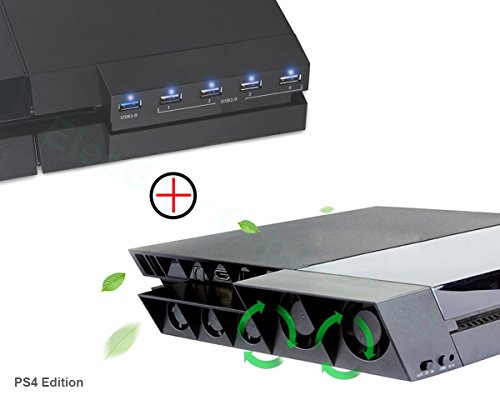 Memory Cooling Kit (PS4 Lüfter Ventilator Kühler & 5-Port USB Hub Combo Kit - ElecGear Externe Kühlgebläse Automatischer Sensor-Kühlung mit USB3.0 erweiterung Adapter Extender Ladegerät für Playstation 4)