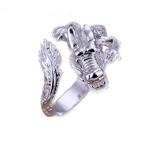 Estilo caliente de joyería Noble 925 bañado en plata de mano para mujer anillo Cool Dragon incluye M abierto