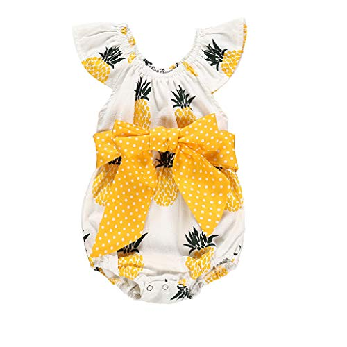 squarex Neugeborenen Kinder Baby Mädchen Jungen Kleidung Ananas Print Overall Dot Bowknot Strampler Kurzarm Strampler Body Sommer Dot Overall