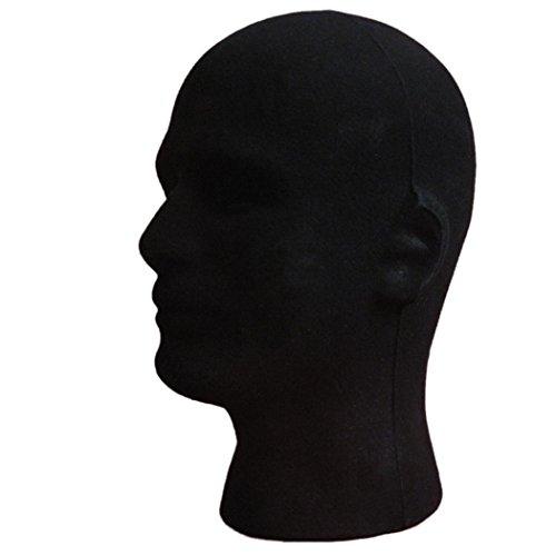 (Dummy Modell Köpfe, Transer® Stecker Styropor Schaumstoff beflockt Head Modell Perücke Gläser Display Ständer Schwarz Modell Display Dummy Köpfe)