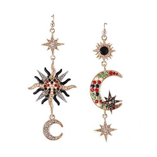 MengPa Vintage Star Sun Moon Design Crystal Drop Earrings for Women Heavenly Body Asymmetrical Jewelry
