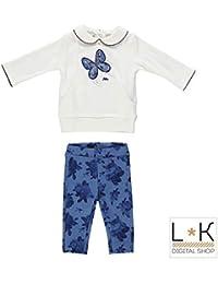 MINIBANDA Completo Con Legging E Maxishirt Bianco Blu Neonata N775 533eafa8b395