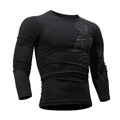 ❤️Veste Homme Sweatshirt Blouson❤️, Amlaiworld T-Shirt Mode Homme Blouse d'impression Tops à Manches Longues (XL, Noir)