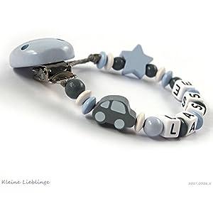 Schnullerkette mit Namen Jungen 2-7 Buchstaben Auto Stern - grau pastellblau (blau) weiß Holz - Baby Geschenk - Taufgeschenk - Handarbeit