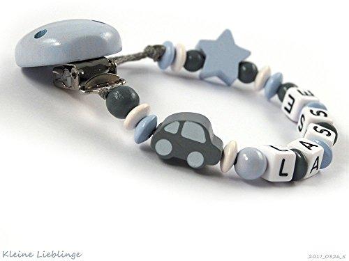 Schnullerkette mit Namen für Jungen 2-7 Buchstaben Auto Stern - grau pastellblau weiß Holz - Baby Geschenk - Taufgeschenk - Handarbeit