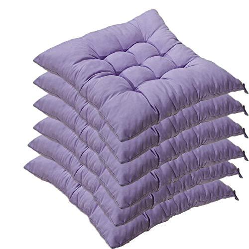 6er Set Stuhlkissen mit Bänder, 40x40x5cm, Sitzkissen für Stühle drinnen und draußen (Mehrere Farben zur Auswahl) (Helles Lila) - Sitzkissen Lila