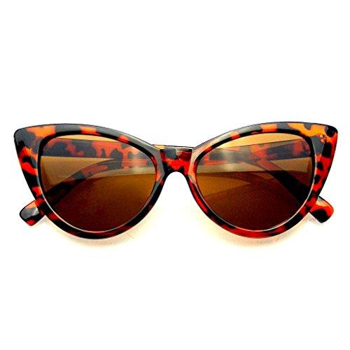 Emblem Eyewear Mujeres Moda Punta Caliente Vintage Señaló Las Gafas de Sol Ojos de Gato (Marrón, 0)