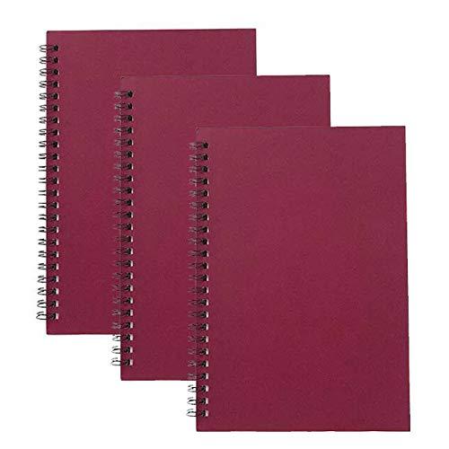 Rocutus 3 Packungen Spiral-Notizbuch, Student Kleines Notizbuch, Bürospirale, Arbeitsheft, Milcherbuch, 63,5 x 14 cm, 114 Seiten, 57 Blatt generic Red Cover