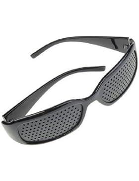 4sold - Gafas reticulares para el fortalecimiento de la vista (bisagras de metal, unisex), color negro