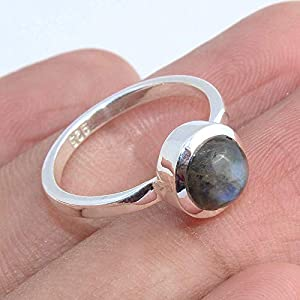 Labradorite 925 Sterling Silver Stackable Ring Handmade Jewelry