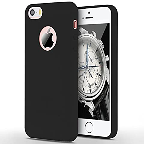 Case for iPhone 5 / 5S / SE, Yokata Ultra Thin Slim Lightweight Matte Soft Silicone Gel TPU Cover Trendy Candy Colour Back Bumper Rubber Shockproof Non-slip Protective Case for iPhone 5 / 5S / SE - Black