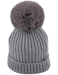 Mitlfuny Niños Niñas Sombreros de bebé Unisex Desmontable Bola de Pelo  Grande Gorro de Punto Invierno 5035957cd00