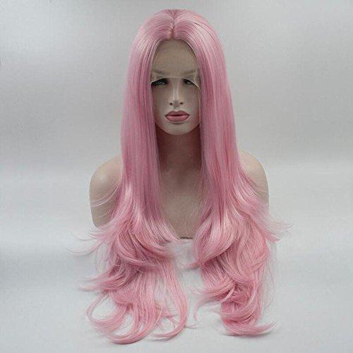 OOARGE Lange lockige wellenförmige rosa Frauen Perücken Hitzebeständige synthetische Cosplay volle Haar Perücke , Pink , (Wikinger Ihre Kostüme Und Seine)