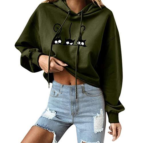 Paw Prints Hoodie (Yvelands Damen Sweatshirt Cat Print Solide Langarm Hoodie Sweatshirt Mit Kapuze Pullover Oberteile Bluse(Armeegrün,S))