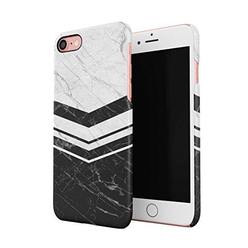 White & Rose Gold Marble Blocks Dünne Rückschale aus Hartplastik für iPhone 7 & iPhone 8 Handy Hülle Schutzhülle Slim Fit Case cover Black White Chevron