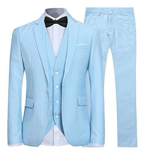 Allthemen Herren 3-Teilig Slim Fit Anzug Smoking Anzugjacke Hose Weste Blau XX-Large (20 20 Anzüge)