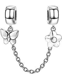 Soufeel Blumen und Schmetterling Sicherheitskette 925er Sterlingsilber Charm