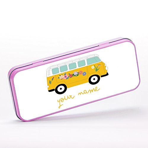 Customized Hippie Camper Van Car Flowers Children Kids Personalised Estuche portalápices de metal - rosado