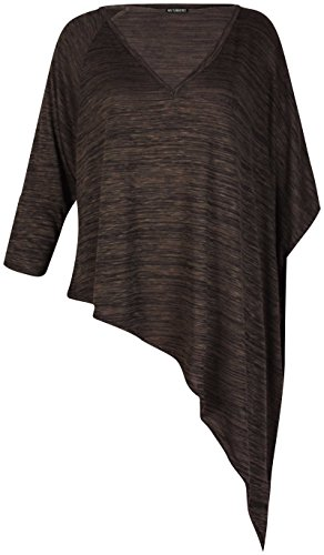 Damen Übergröße V Halsausschnitt Damen Halb FLÜGELÄRMEL ASYMMETRISCH uneben Saum T-Shirt Top Braun - Khaki