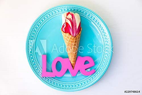 Ice Cream Tulip (druck-shop24 Wunschmotiv: Tulip Flower in The Ice Cream Waffle Cone on Plate with Love Word #229748614 - Bild auf Leinwand - 3:2-60 x 40 cm / 40 x 60 cm)