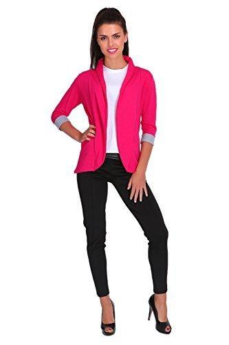 FUTURO FASHION Eleganz Damen Jacke Blazer Stil mit Taschen 3/4 Ärmel 2501 - Hot Pink, EU 46 - XXXL