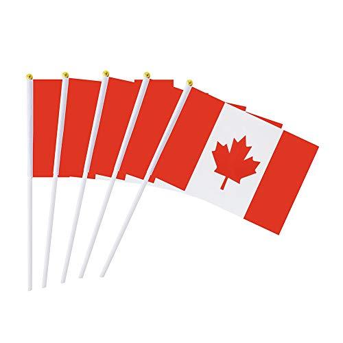 hou zhi liang 50 PC-Kanada-Stock-Flagge 5,5 X 8,3 Zoll Kleine Hand Flagge Mini Kanadische Flagge -