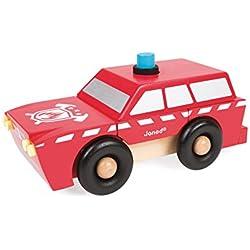 Janod - Vehículo camión de bomberos magnético de madera (Juratoys J05218)