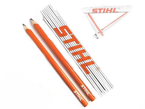 Zimmermannsbleistifte Stihl 2 Stück + Zollstock Stihl Gliedermaßstab mit Winkelmesser