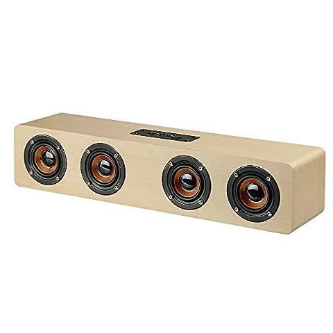 Docooler W8 Haut-parleur Bluetooth 4.2 Quatre Louderspeakers Super Bass Subwoofer Mains libres avec micro Carte TF Batterie 3000mAh pour usage domestique