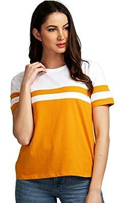 AELOMART Women's Cotton Round Neck Mustard Half Sleeve Top(AWT2053MDW-P)