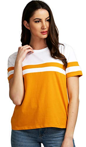 AELO Women's Cotton Round Neck Mustard Half Sleeve Top - (Awt2053mdw-M_Mustard_Medium)