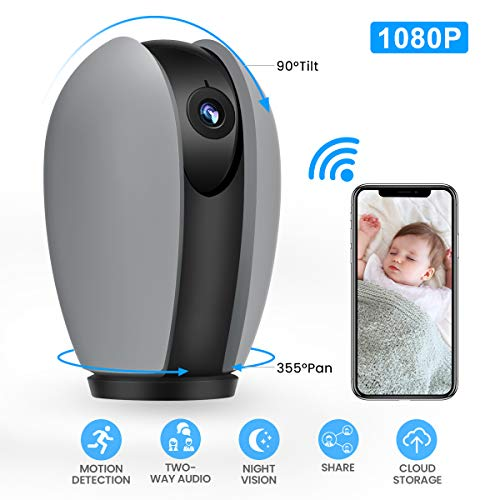 MECO WiFi IP Camera 1080P Home Security Surveillance Camera Wireless Indoor CCTV Camera with Pan/Tilt/Zoom, Night Vision, Sound/Motion Detection, 2-Way Audio, Cloud Storage, Baby/Pet/Elder Monitor