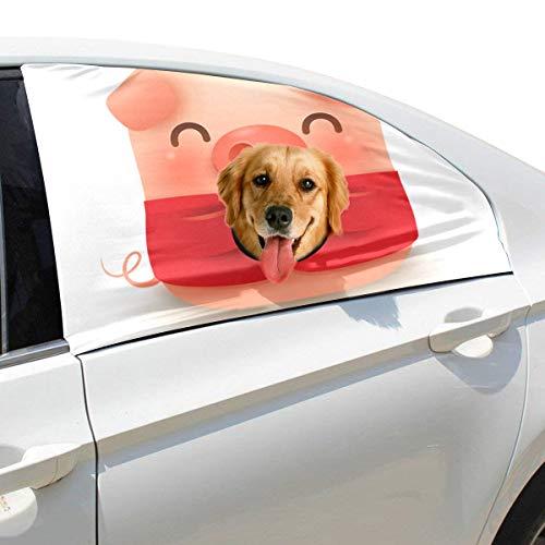 Zemivs Chinese New Year Pig Faltbare Hund Sicherheit Auto Gedruckt Fenster Zaun Vorhang Barrieren Protector Für Baby Kind Einstellbar Flexible Sonnenschutzabdeckung Universal Fit Für SUV (Niedlichen Hund Und Baby Kostüme)